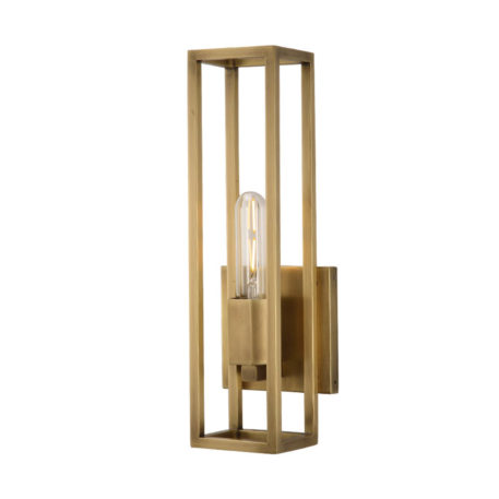 natural brass caged one light sconce