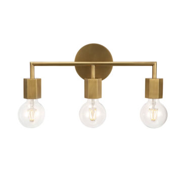 gold brass 3 light vanity
