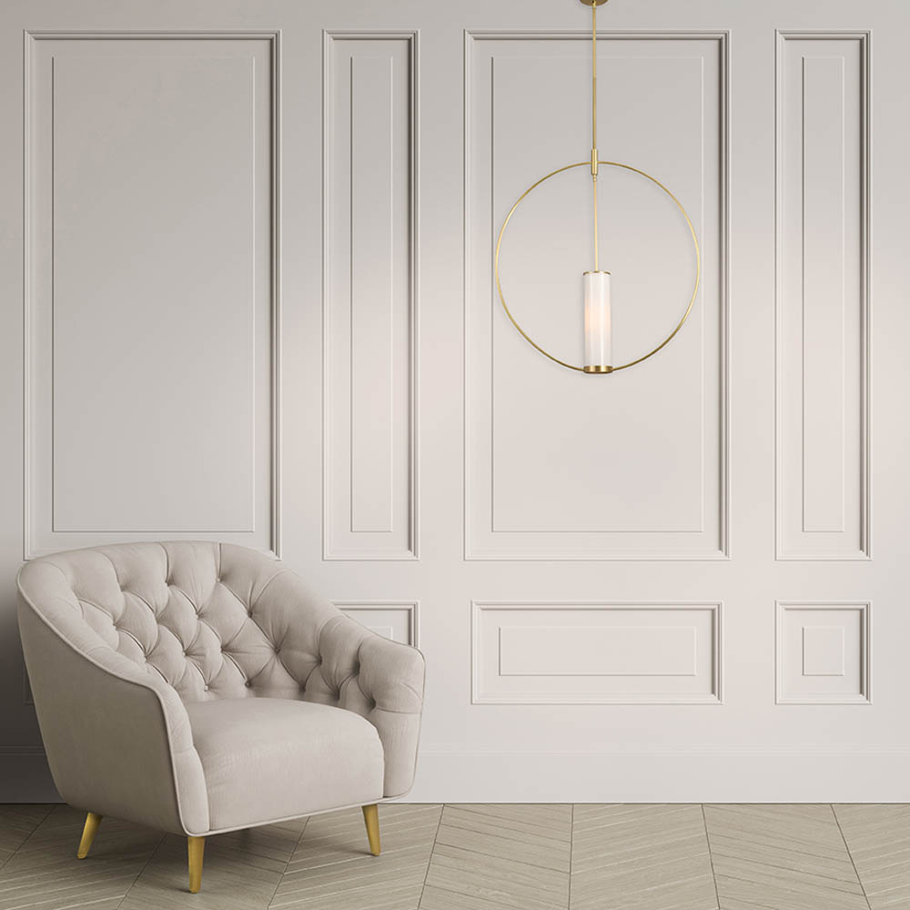Tufted ivory color armchair in classic interior with copy ...
