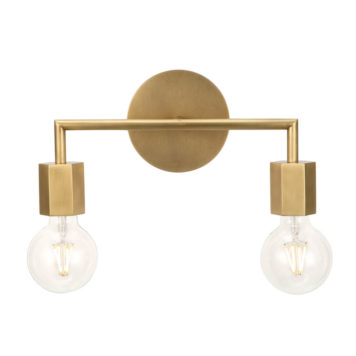 2 light vanity in natural brass hexagon design