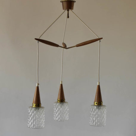 DAnish Mid Century Modern Pendant made of wood with three glass globes suspended from white wires