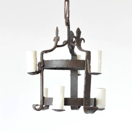 Heavy Forged Iron Cage form pendant with fleur de lis at top. Made in France in the early 1900s