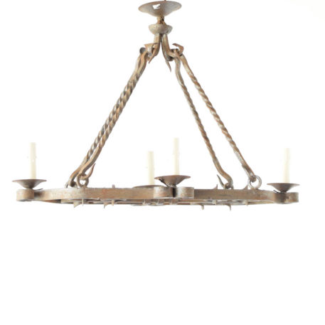Vintage FRench Iron Chandelier with twisted rods and nicely forged scrolls