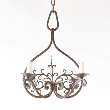 Hand Forged Iron chandelier from France with a central tree of life motif