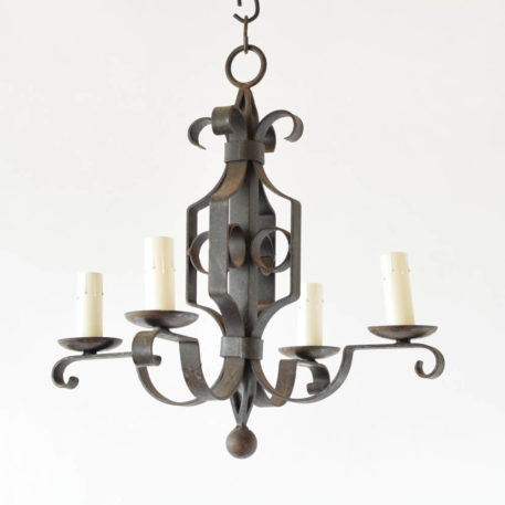 Vintage French Chandelier with forged arms made from flat iron bars