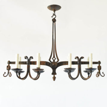 Antique iron balance from Belgium converted into a light fixture
