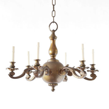 Early 1900s Flemish style bronze chandelier with heavy central ball