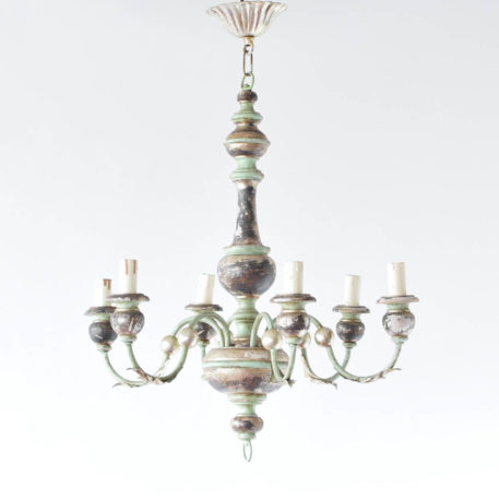 Vintage Chandelier from Italy with Green and Silver Patina