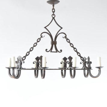 French iron chandelier with nice forged fleur de lis designs