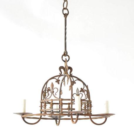 Iron Dome shaped chandelier from Paris with Fleur de Lis details