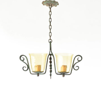 Iron Hall light with amber seedy glass forged in France