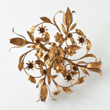 spanish gold sun form flush mount gilded leaves flowers floral