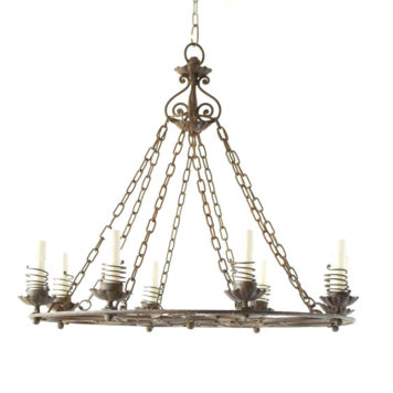 Vintage Iron Chandelier r from France with Springs around candles and unusual iron design in middle