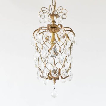 Funky brass pendant with crystal prisms from Belgium