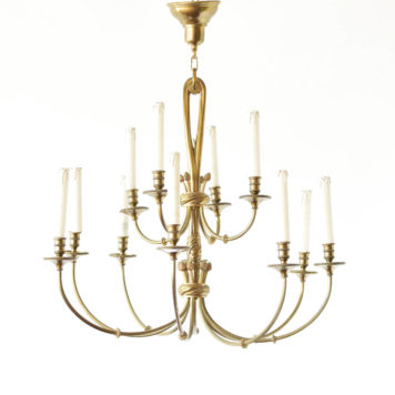 Large Vintage Bronze chandelier from Belgium with simple arms