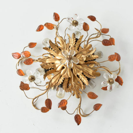 spanish gold sun form flush mount gilded leaves italian amber crystal