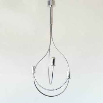 Mid century light fixture made from 3 intertwined chrome tubes
