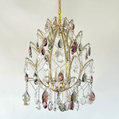 Vintage Italian iron chandelier with beaded arms having the form of a large Fabrege Egg