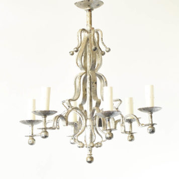 Forged Iron Chandelier from Spain with Iron Balls and Hammered Arms