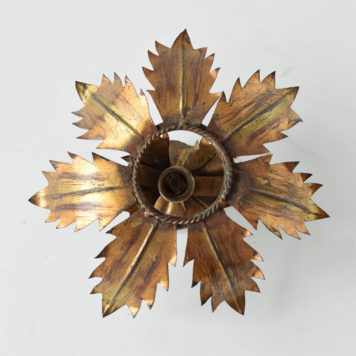 spanish gold sun form flush mount gilded leaves