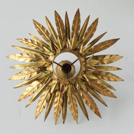 spanish gold sun form flush mount gilded leaves