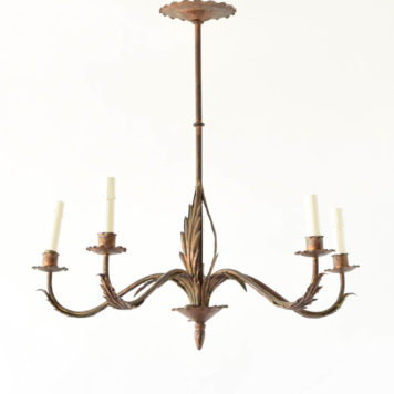 Vintage Spanish Chandelier with Tall thin column with leaves at the bottom and on the arms