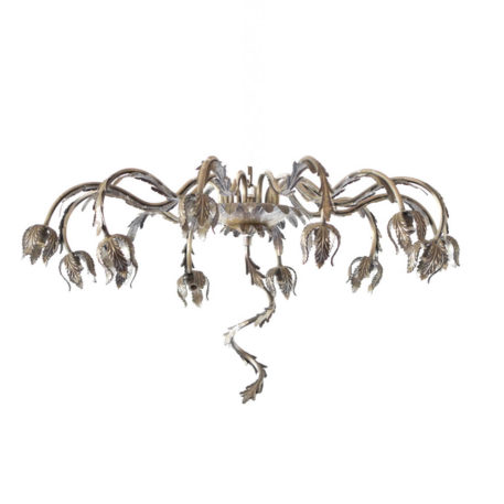 Very large vintage Spanish iron flush mount with free form arms and a central vine decoration