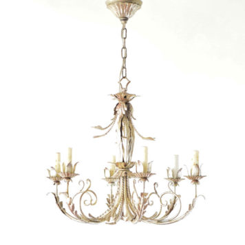 Italian vintage chandelier with silver patina