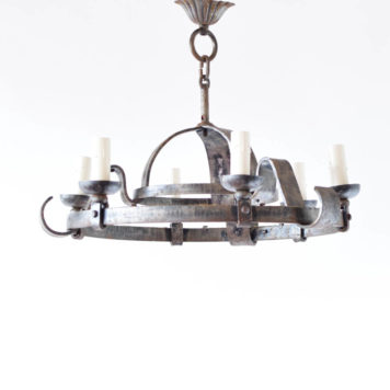 Iron Chandelier from Belgium with simple forged iron bars