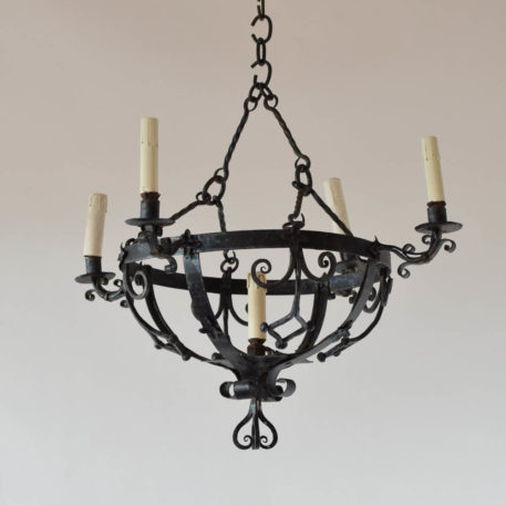 Antique French chandelier in the Neo Gothic style with 4 arms and nice hand forged details