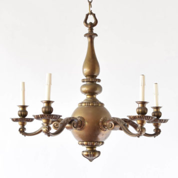 Substancial Flemish chandleier with heavy central bronze ball and 5 arms