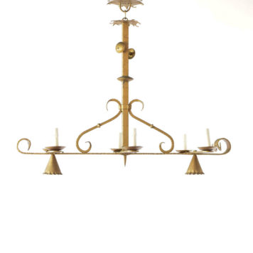 Elongated vintage Spanish chandelier with large tall square column and 2 down lights
