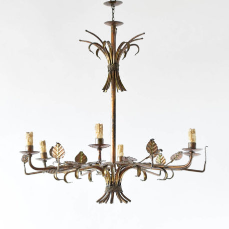 Gilded Spanish Chandelier with unusual leaf design on each arm