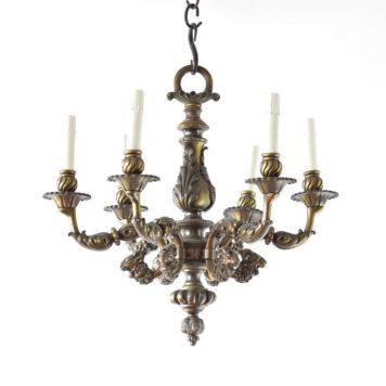 Heavy Spanish Bronze Chandelier from the mid 1900s with Rams Heads and Faces in the casting