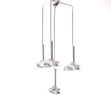 Mid Century modern light fixture made of 4 chrome pendants