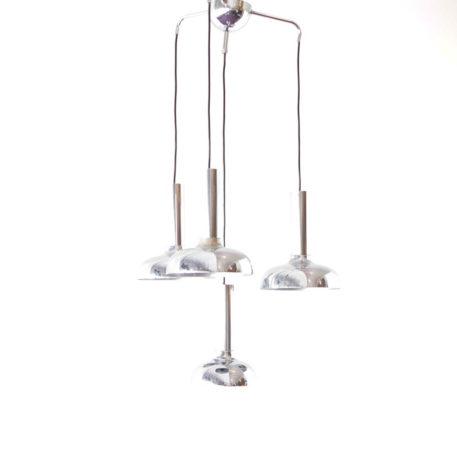 Mid Century modern light fixture made of 4 chrome pendants