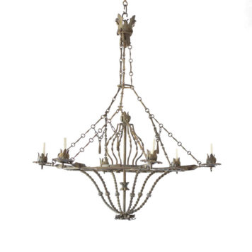 Large Iron Chandelier with unusual chains and iron Tassels from France
