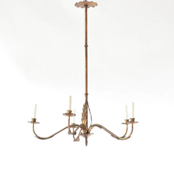 Vintage iron chandelier from Spain with tall thin column