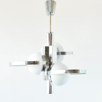 Glass and Chrome Light Fixture with a Mid Century Modern Design