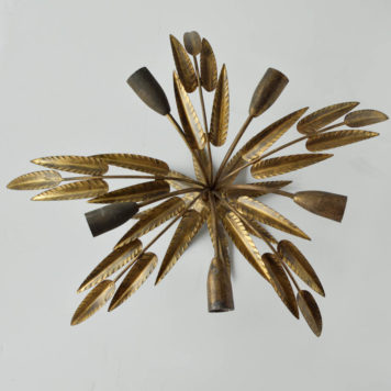 spanish gold leafy form flush mount gilded leaves