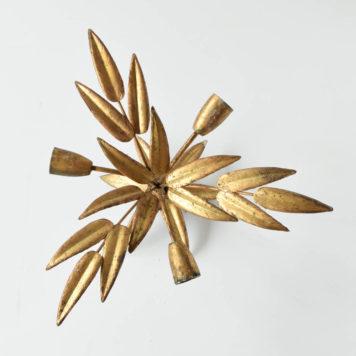 spanish gold sun form flush mount gilded leaves leafy 3 light