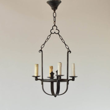 Small Rustic chandelier from Belgium with a iron basket supporting 4 lights
