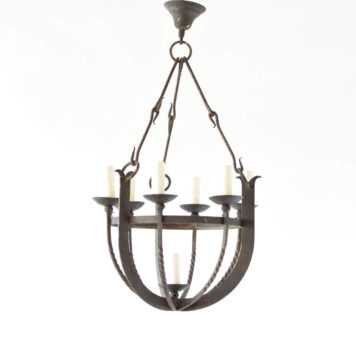 Forged Iron Basket Chandelier from Belgium