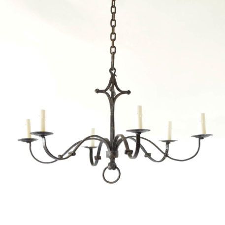 Simple Belgian design chandelier made from hand forged iron