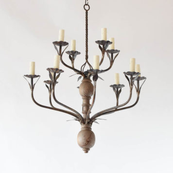 Flemish style chandelier executed in wood and iron from Belgium and handmade in the early 1900s