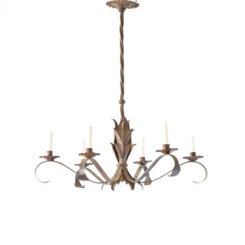 Vintage iron chandelier from Spain with 5 simple arms supported by tall twisted column