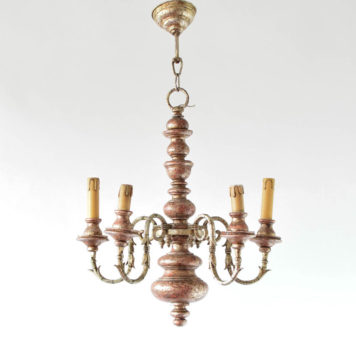 Vintage wood chandelier from Italy with painted finish