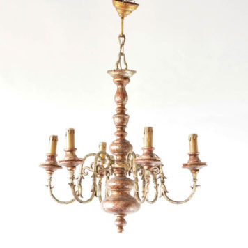 Vintage italian chandelier with gold silver and red painted finish