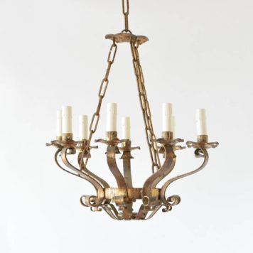 Vintage Bowl From chandelier from Spain with heavily forged arms and 9 lights