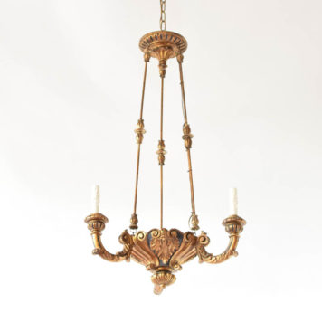 Carved gilded wood chandelier with tall rods from Italy